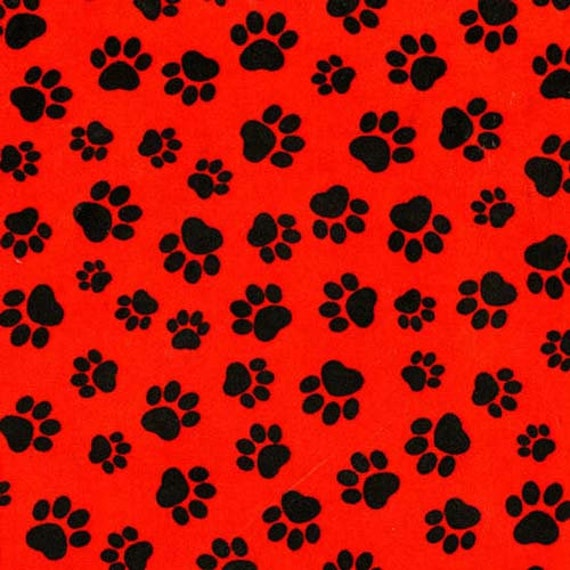 Timeless Treasures Red Paw Print Fabric