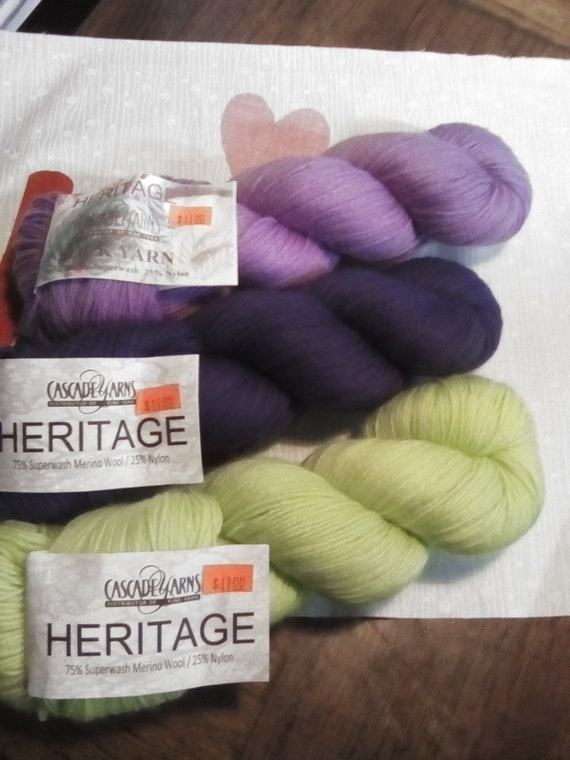 Heritage sock yarn by Cascade Yarns set of 3 lilac, lime green and navy blue