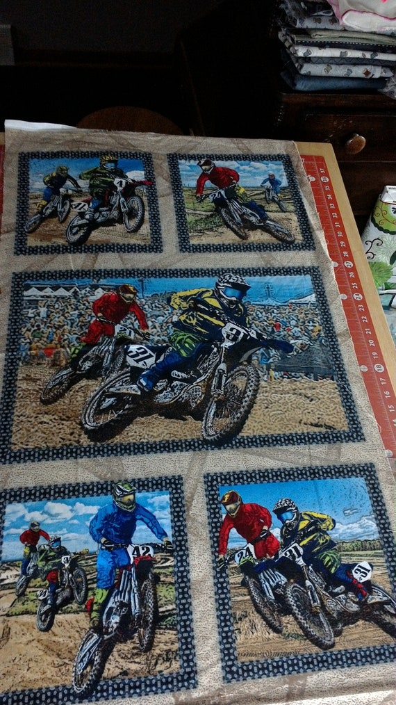 Motorcycle Dirt Bike Racing Panel Sport Sewing and Quilting