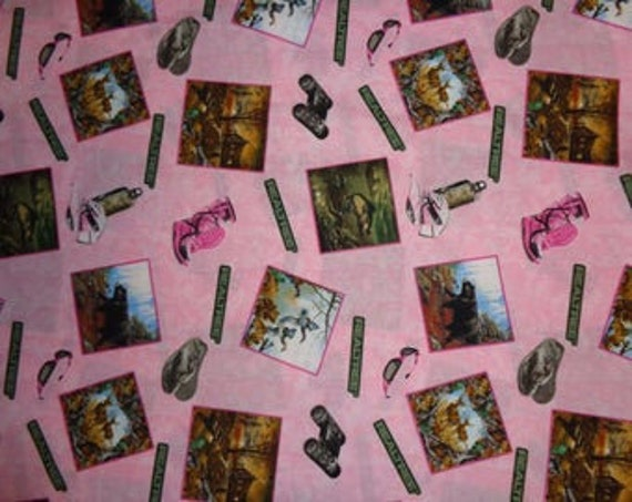 Pink Cotton Quilt Fabric Real Tree Camo Outdoor scene fabric