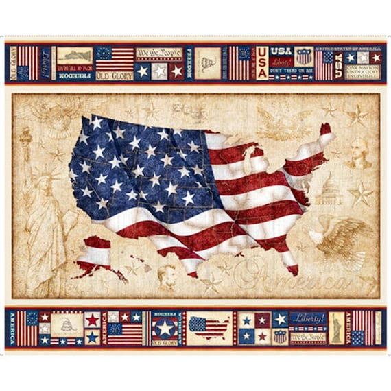 United States Flag Panel by Dan Morris Cotton Fabric Panel 36 x 44