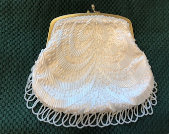 Vintage L Regale Hand Beaded Clutch White  Gold Frame No Chain