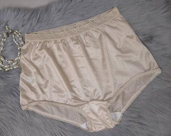5adcfaddf245 vintage shimmery nylon panties beige nude soft nylon lace 70s briefs  lingerie plus size 10 XXL granny panty brief knickers carole