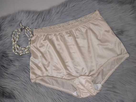 Vintage Style Hipster Panties Nylon Lace Hi-Brief Knickers Lacy Silky Satin L XL