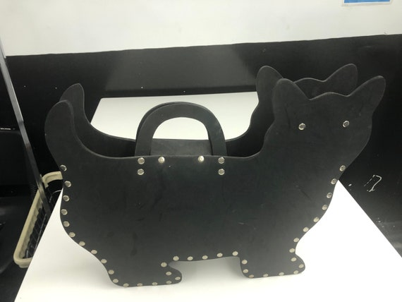 Vintage 1990s SULAN faux leather CAT Tote BAG - image 2