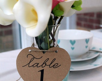 x12 Shabby Chic Heart Table Numbers/Vintage/Retro/Chic