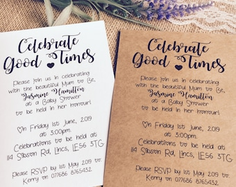 x10 Celebrate Good Times Baby Shower Invites with Envelopes