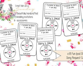 x18 Personalised Ipod Style Song Request Cards