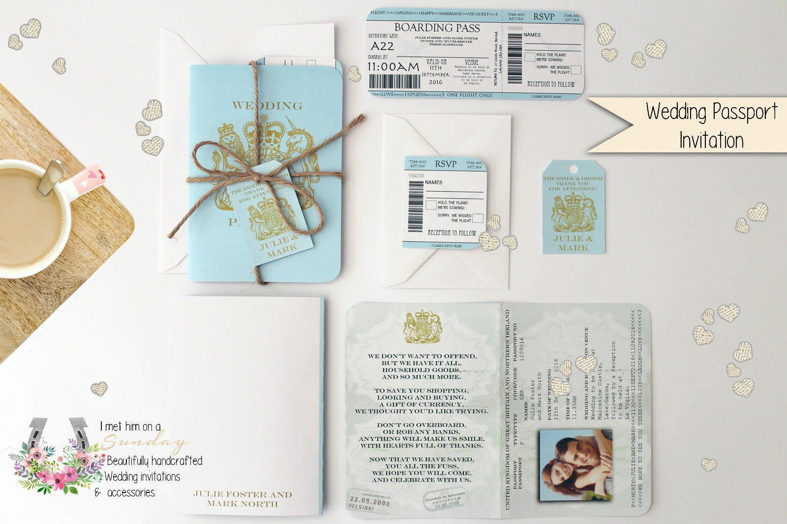 x1 Passport style Travel Wedding/Birthday/Baby Shower
