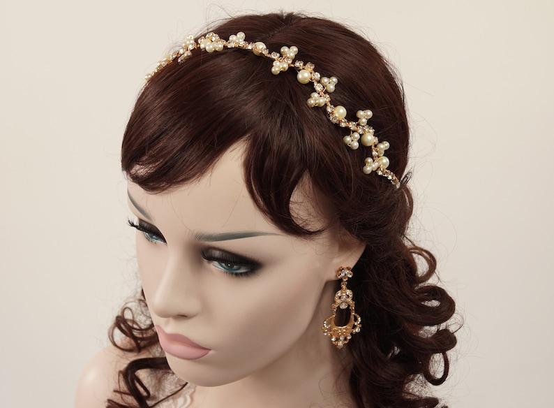 Wspaniały Opaska ślubna różowe złoto Hełm weselne akcesoria do włosów | Etsy QB33