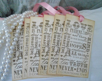 Love is Patient - 1 Corinthians 13:4-8 Wedding Gift/Wish Tree Tags - Vintage Inspired