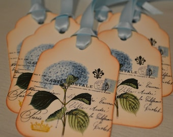 Vintage Inspired Hydrangea Gift/Wish Tree Tags