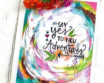 "Inspirational Art Print ""New Adventures"" 8.5x11 inch art print / Colorful home decor / boho home decor / adventure art / gift for adventurer"