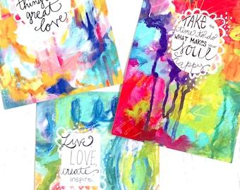 Inspirational Postcards Pack of 3 / Art Postcards / Mini Prints