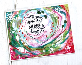 May your days be Merry and Bright / 11 x 8.5 inch inspirational art print / Christmas decorations / Holiday home decor / colorful art gift