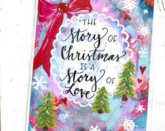 Story of Christmas / 8.5x11 inch inspirational art print / Christmas art / holiday home decor / Colorful Christmas gift