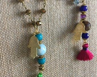 Hamsa tassel necklace natural stone gold charm luck