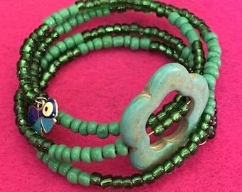 Green turquoise, flower and butterfly evil eye wrap bracelet