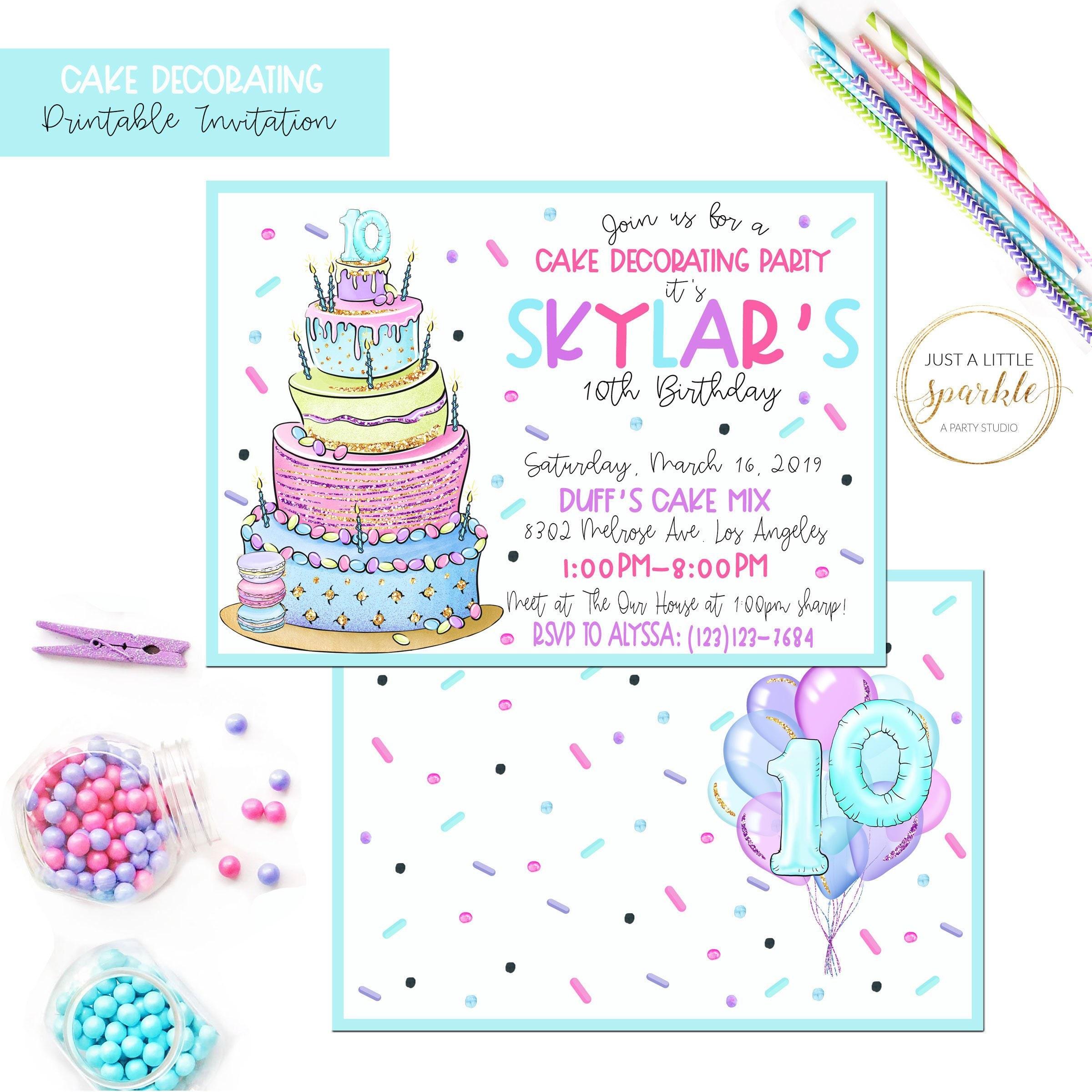 Bake Shop Invites Printable Baking Invites Baking Birthday Etsy