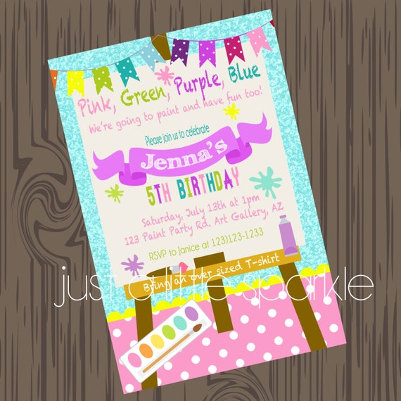 paint party invitation art supply party invitation paint party