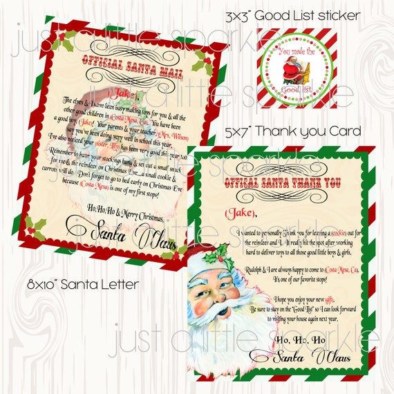 Letter from santa printable diy thank you note from santa etsy image 0 spiritdancerdesigns Choice Image