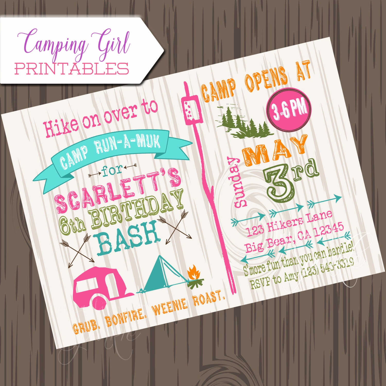 girl camping birthday invitation diy printable camp birthday etsy
