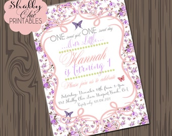 Shabby Chic Butterfly invitations-DIY-vintage birthday, rose birthday, butterflies, Soft colors