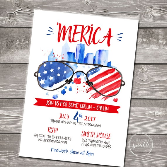 4th Of July Invitation Digital Fourth Of July Invitation Fourth Of