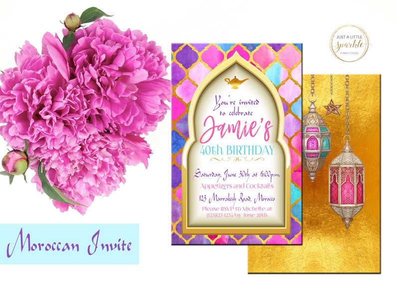 Printable Moroccan-Themed Party Invitations in Pink and Gold