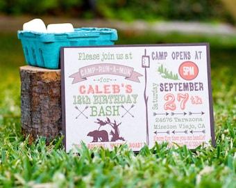 Camping Birthday Invitation, DIY, Printable camp birthday invite, Camping invitation