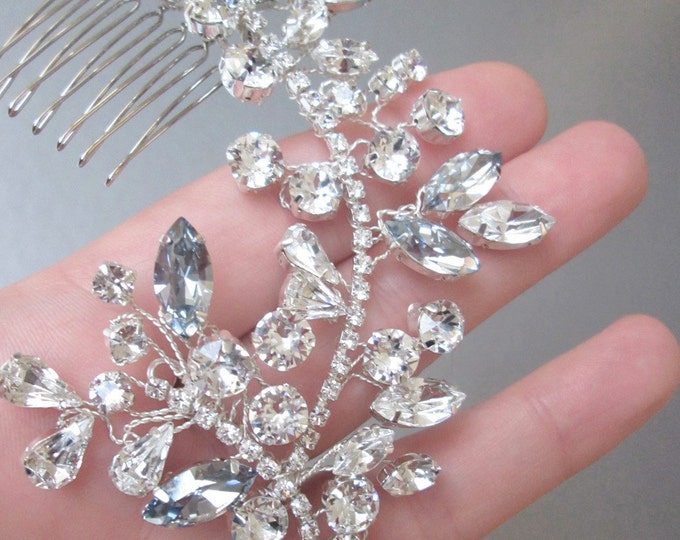 Something blue bridal comb, Swarovski crystal hair vine bridal comb, Wedding hair comb, Swarovski hair vine, Bridal comb in silver or gold