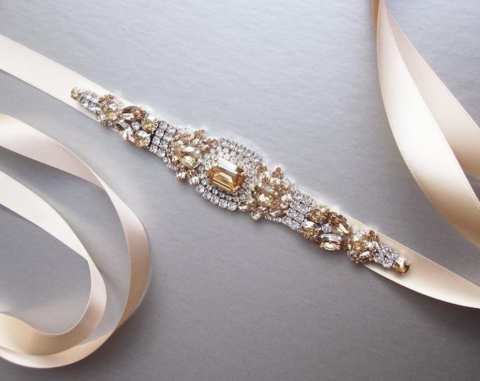 Nude Swarovski crystal bridal belt, Beige velvet belt, Rhinestone Wedding belt, Waist sash, Swarovski belt in nude champagne