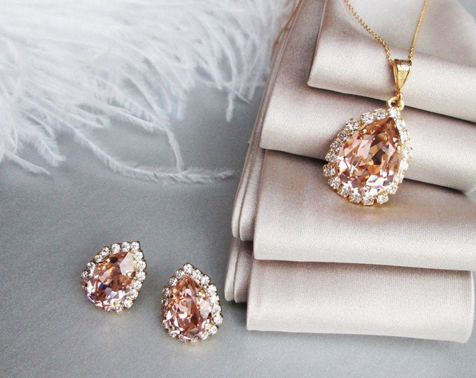 Vintage Rose Swarovski crystal jewelry set, Blush Bridal earrings necklace set, Swarovski Bridesmaids jewelry in gold, silver, rose gold