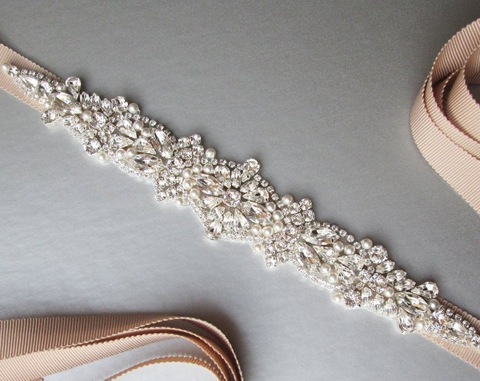 Swarovski Bridal crystal and pearl belt, Wedding belt sash, Crystal rhinestone belt, Waist sash, Bridal belt in gold, rose gold  or silver