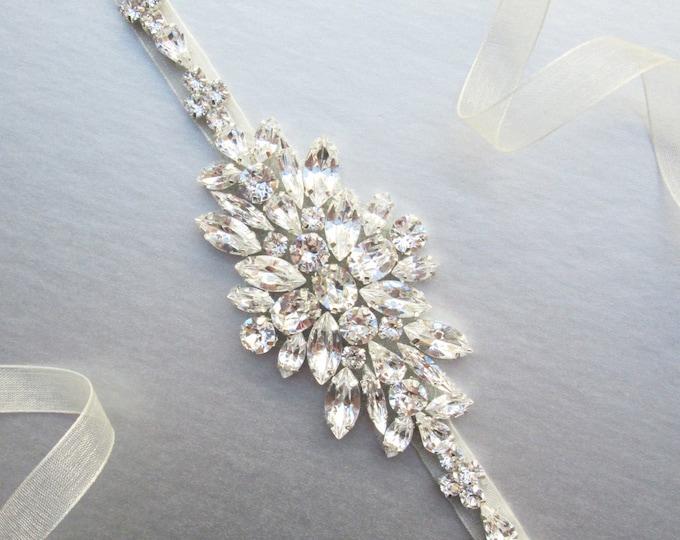 Wedding belt, Bridal belt, Swarovski crystal belt, Silver, gold, rose gold belt sash, Rhinestone bridal belt, Skinny bridal belt full length