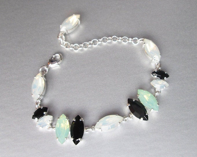Swarovski crystal opal and black bracelet, Swarovski opal crystal bracelet, Summer jewelry set, Swarovski black green bracelet, Bridesmaids