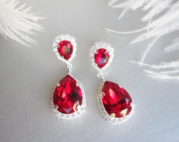 Ruby red Swarovski crystal earrings, Gift for her, Teardrop dangling earrings, Rhinestone drop earrings dark red, Siam red drops