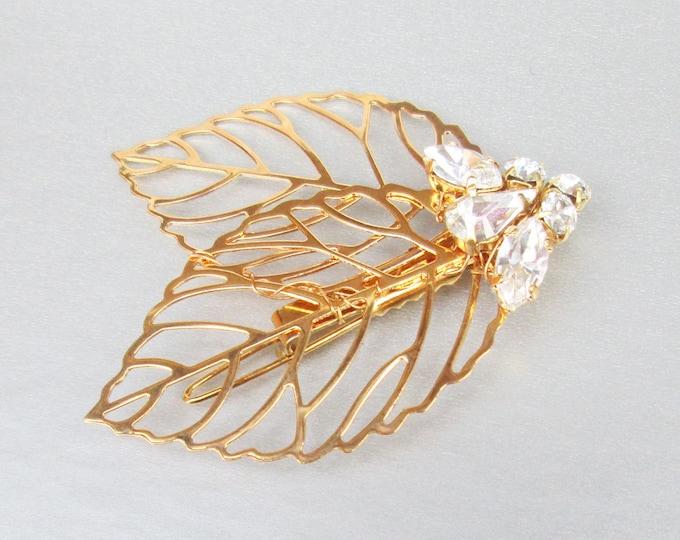 Swarovski crystal hair clip bobby pin, Crystal clip hair pin, Leaf hair clip, Bride Bridesmaids Flower girl hair clip, Bridal hair clip