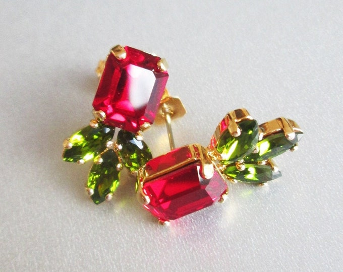 Red Rose Swarovski crystal studs, Ruby peridot Swarovski earrings, Dainty siam stud earrings in gold, silver, rose Wedding party bridesmaids