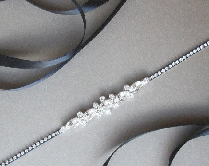 Little black belt, Super skinny bridal belt, Dainty crystal belt sash, Swarovski crystal belt, Thin belt in gold, silver, rose gold