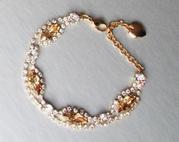 Honey Champagne Swarovski crystal bridal bracelet, Wedding jewelry, Swarovski champagne crystal bridal jewelry bracelet in gold, silver