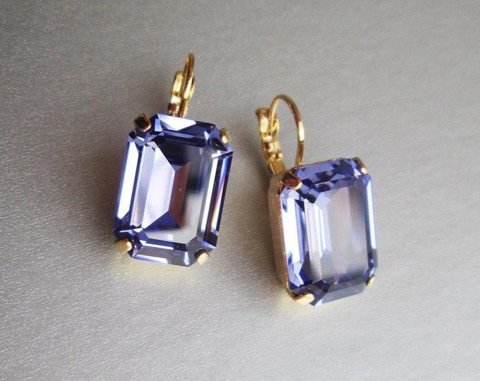 Tanzanite Swarovski crystal emerald cut bridal earrings, Purple Swarovski drop earrings, Bridal drop earrings in gold, silver, rose gold