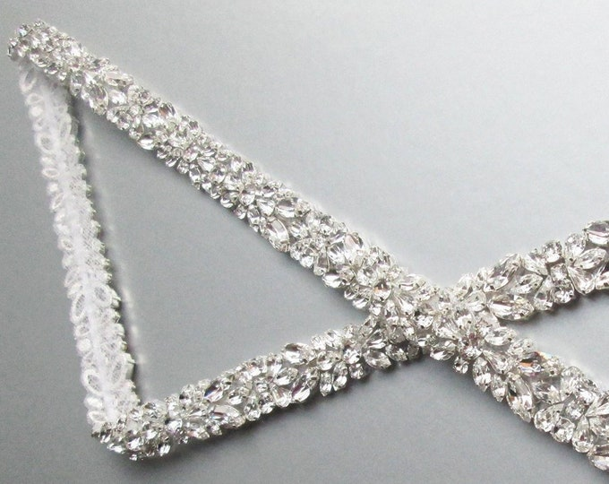 Fitted Swarovski crystal bridal belt sash 3/4 inch wide, Bridal crystal wedding belt, Silver rhinestone belt, Bridal belt with clasp closure