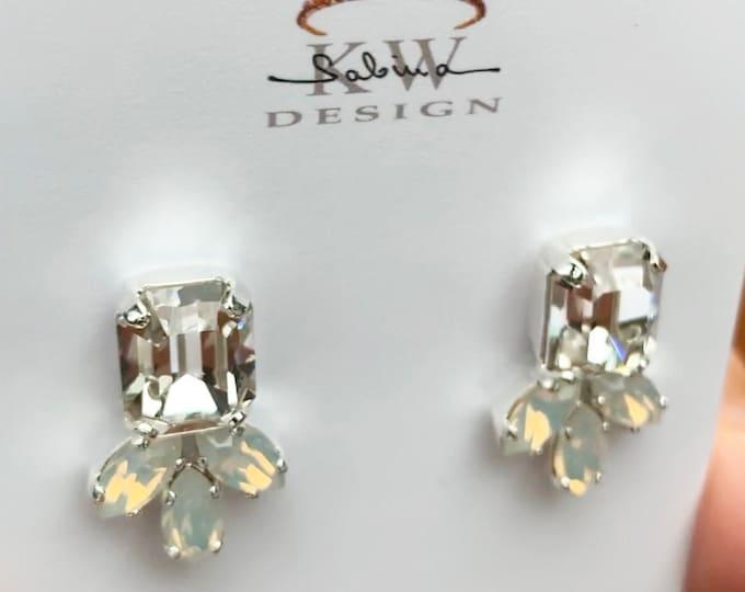 Opal Swarovski crystal studs, Octagon stud earrings, Dainty stud earrings in gold, silver, rose, Wedding earrings emerald cut studs