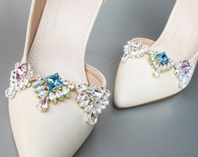 Mix and match Shoe clips, Bridal shoe clips, Swarovski crystal shoe clips, Shoe embellishments jewelry, Rhinestone shoe clip-on jewels