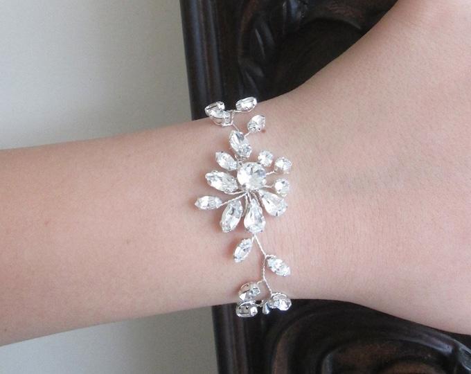 Swarovski crystal opal bridal bracelet, Delicate Swarovski opal bracelet, Wedding rhinestone bracelet in gold, silver, White opal bracelets