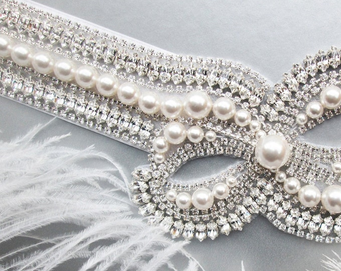 Side Bow pearl bridal belt sash, Crystal wedding belt, Swarovski Pearl and crystal bridal belt, Rhinestone Bridal belt in gold or silver