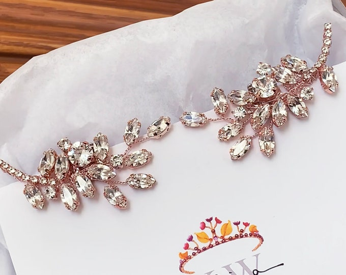 Rose gold Swarovski Shoe clips, Bridal shoe clips, Swarovski crystal Shoe embellishments, Shoes jewelry rhinestone clips, Party Shoe clips