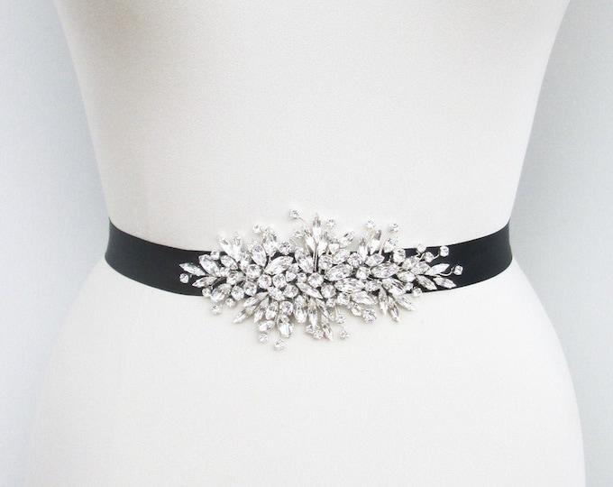 Swarovski crystal belt sash, Bridal belt sash, Black Crystal sash, Beaded Crystal Rhinestone Sash, Wedding belt in gold, silver or rose gold