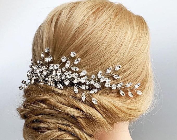 Swarovski crystal hair vine, Bridal comb, Swarovski hair vine, Leaves branch crystal hair vine, Rhinestone bridal headpiece comb vine